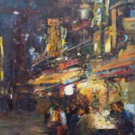 Nacht op straat in Japan olieverf op doek(80x60) 2015